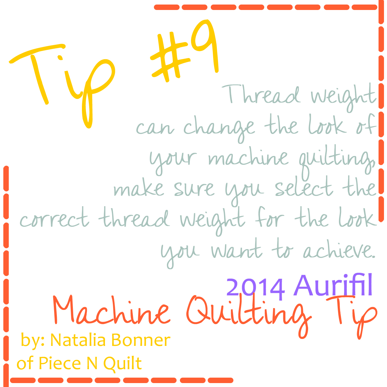 machine quilting tip for aurifil number 9-1