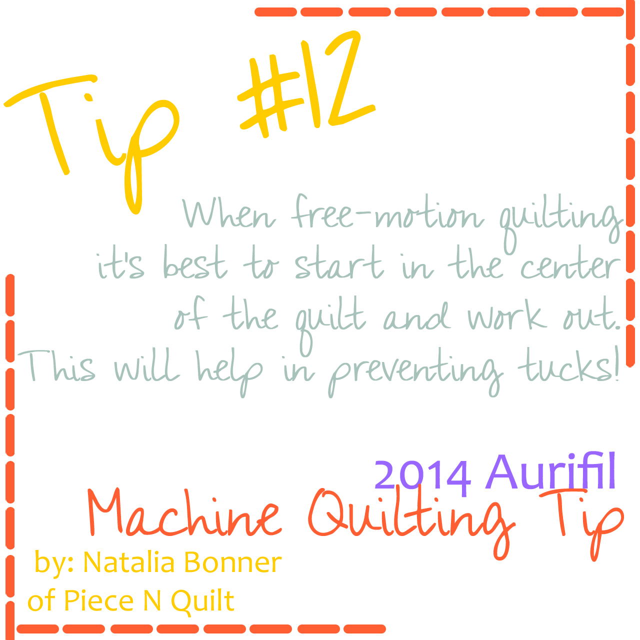 machine quilting tip for aurifil number 12