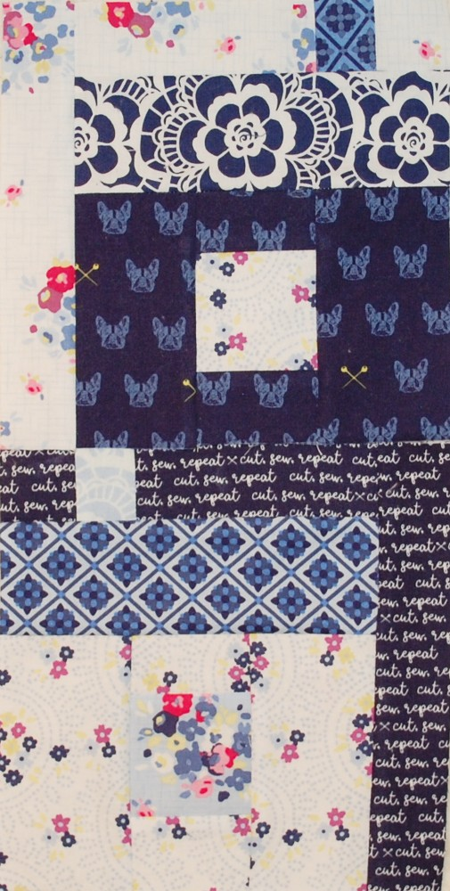 Free House Quilt Block Pattern. Blue Carolina fabric, Riley Black Designs, Blue Nickel Studios, Urban Folk Quilt