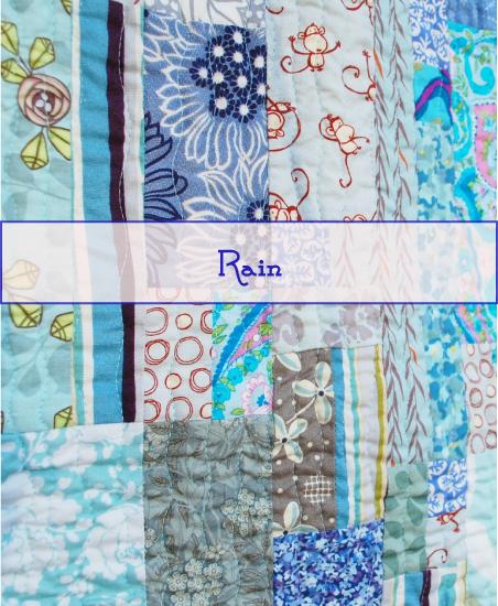 Rain quilt, Modern watercolor, blue nickel studios, men who quilt, Angela Walters