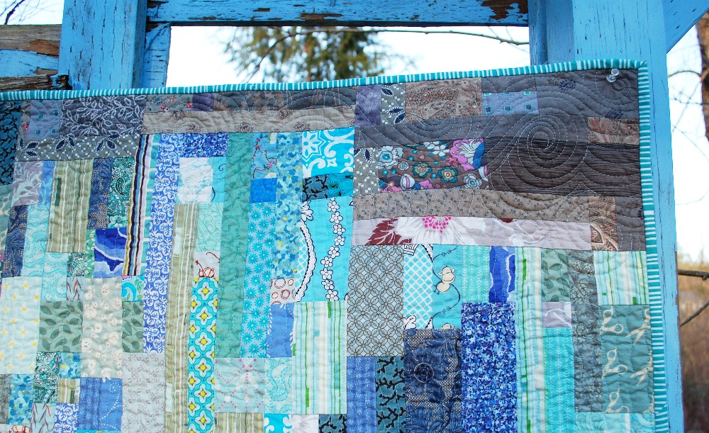 Rain quilt, Modern watercolor, blue nickel studios, men who quilt, Angela Walters