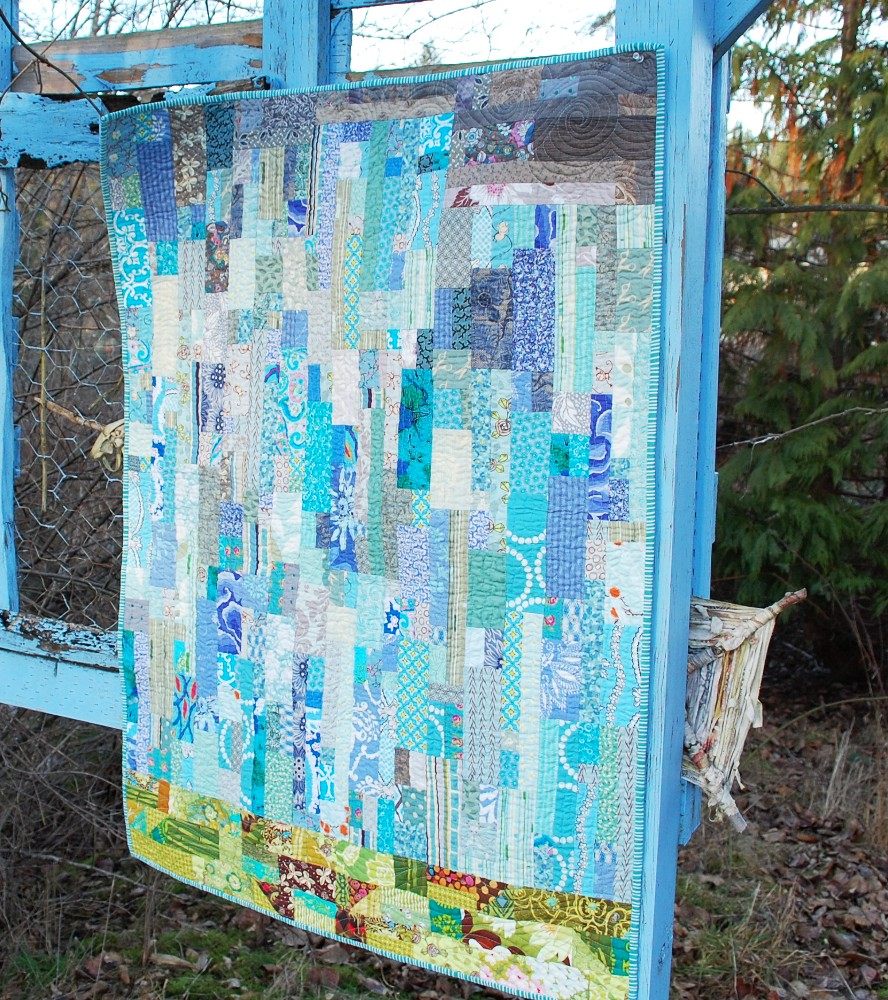Rain quilt, Modern watercolor, blue nickel studios, men who quilt, Angela Walters, Urban Folk Quilts