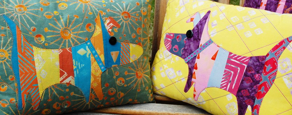 Quilts, Inc. Interview, Blue Nickel Studios, Tie One On Fabric, Spring Quilt Market, Portland, Oregon, Banyan Batiks, Northcott Fabrics, colourwerx mod dog pillow