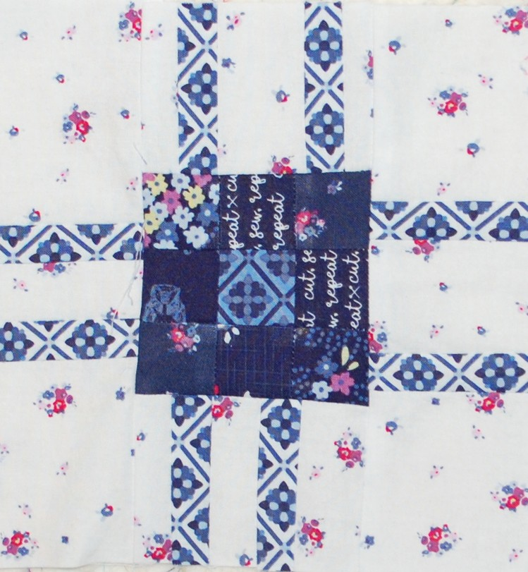 Soup of the Day Quilt Block Pattern. Blue Carolina fabric, Riley Black Designs, Blue Nickel Studios, Urban Folk Quilt