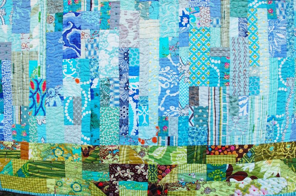 Rain quilt, Modern watercolor, blue nickel studios, men who quilt, Angela Walters, Urban Folk Quilts