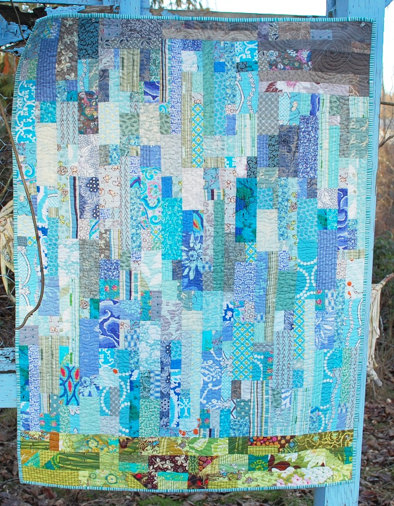 Rain Quilt, Quilted by Angela Walters, Modern Watercolor quilt, Modern quilting, men who quilt, modern male quilter, Pacific Northwest, art quilt