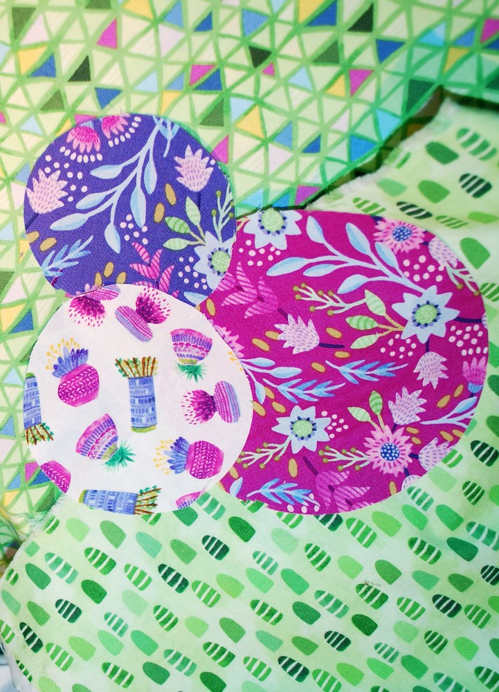 Flourish Line, Mia Whittemore, Windham Fabrics, Spring Colors, Summer Colors, aurifil thread, quilting, fresh fabrics, cutting circles