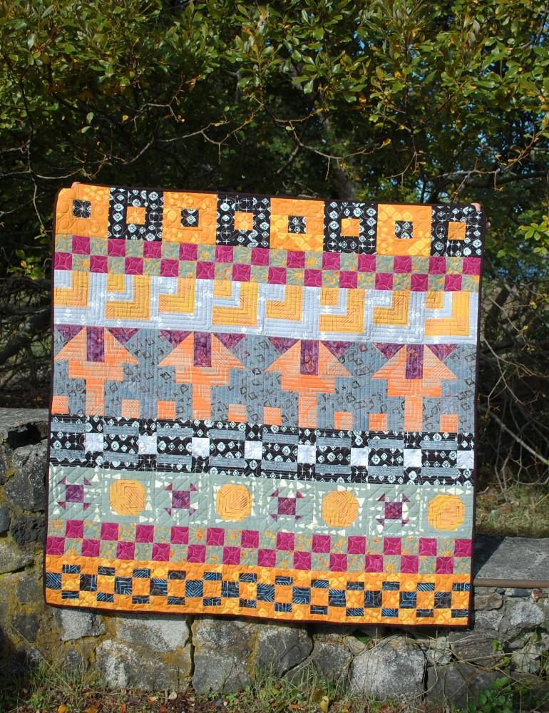 November - My Favorite Month, Stonybrek Quilt, Banyan Batiks, Tie One On, Blue Nickel Studios, Urban Folk Quilts