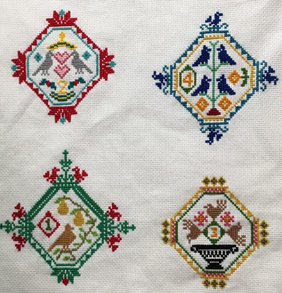 aurifil joyeux noel cross stitching